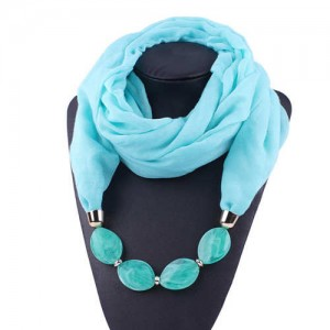 Resin Beads Decorated High Fashion Bali Yarn Women Scarf Necklace - Sky Blue