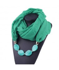 Resin Beads Decorated High Fashion Bali Yarn Women Scarf Necklace - Green