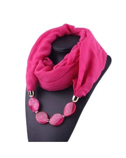 Resin Beads Decorated High Fashion Bali Yarn Women Scarf Necklace - Rose