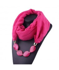 Resin Beads Decorated High Fashion Bali Yarn Women Scarf Necklace - Rose