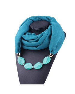 Resin Beads Decorated High Fashion Bali Yarn Women Scarf Necklace - Teal