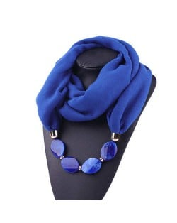 Resin Beads Decorated High Fashion Bali Yarn Women Scarf Necklace - Royal Blue