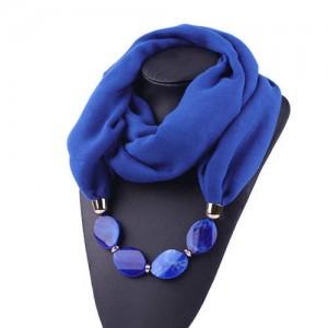 Resin Beads Decorated High Fashion Bali Yarn Women Scarf Necklace - Royal Blue