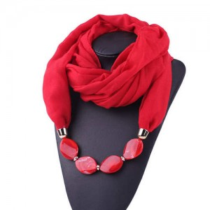 Resin Beads Decorated High Fashion Bali Yarn Women Scarf Necklace - Red