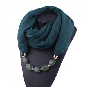Resin Beads Decorated High Fashion Bali Yarn Women Scarf Necklace - Ink Green