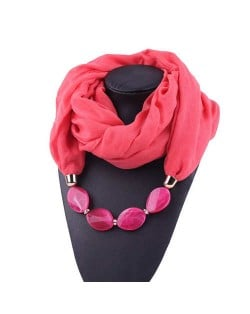 Resin Beads Decorated High Fashion Bali Yarn Women Scarf Necklace - Watermelon Red