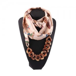 Acrylic Chain High Fashion Image Printing Satin Women Scarf Necklace - Beige
