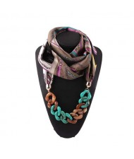 Acrylic Chain High Fashion Image Printing Satin Women Scarf Necklace - Brown