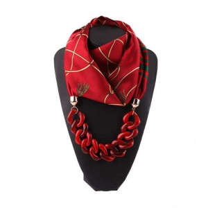 Acrylic Chain High Fashion Image Printing Satin Women Scarf Necklace - Red