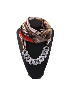 Acrylic Chain High Fashion Image Printing Satin Women Scarf Necklace - Gray
