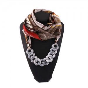 Acrylic Chain High Fashion Image Printing Satin Women Scarf Necklace - Gray