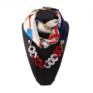 Acrylic Chain High Fashion Image Printing Satin Women Scarf Necklace - White