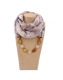 Seashell and Flower Chain Cotton Women Scarf Necklace - Brown