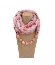 Seashell and Flower Chain Cotton Women Scarf Necklace - Pink