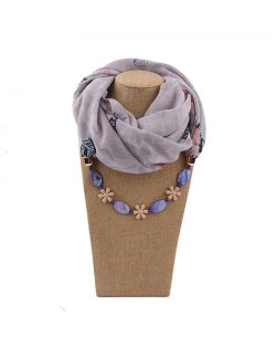 Seashell and Flower Chain Cotton Women Scarf Necklace - Gray
