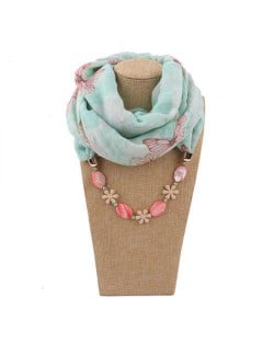 Seashell and Flower Chain Cotton Women Scarf Necklace - Green