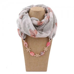 Seashell and Flower Chain Cotton Women Scarf Necklace - White