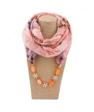 Seashell and Flower Chain Cotton Women Scarf Necklace - Orange