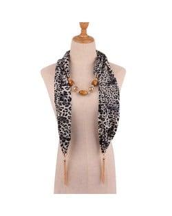 Beads and Tassel Embellished Leopard/ Snake Prints Women Scarf Necklace - Color 1