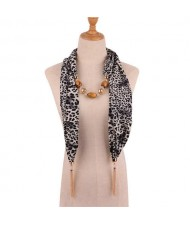 Beads and Tassel Embellished Leopard/ Snake Prints Women Scarf Necklace - Color 1
