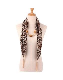 Beads and Tassel Embellished Leopard/ Snake Prints Women Scarf Necklace - Color 2