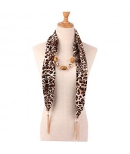 Beads and Tassel Embellished Leopard/ Snake Prints Women Scarf Necklace - Color 2