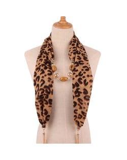 Beads and Tassel Embellished Leopard/ Snake Prints Women Scarf Necklace - Color 3