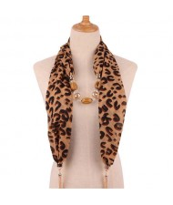 Beads and Tassel Embellished Leopard/ Snake Prints Women Scarf Necklace - Color 3