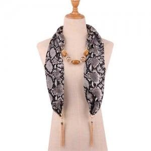 Beads and Tassel Embellished Leopard/ Snake Prints Women Scarf Necklace - Color 4