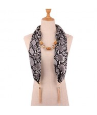 Beads and Tassel Embellished Leopard/ Snake Prints Women Scarf Necklace - Color 4