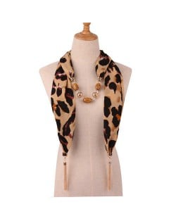 Beads and Tassel Embellished Leopard/ Snake Prints Women Scarf Necklace - Color 5
