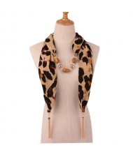 Beads and Tassel Embellished Leopard/ Snake Prints Women Scarf Necklace - Color 5