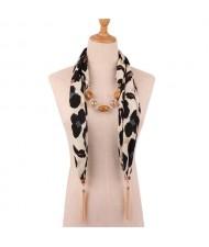 Beads and Tassel Embellished Leopard/ Snake Prints Women Scarf Necklace - Color 6