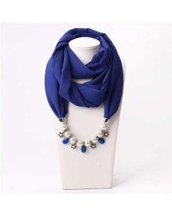Pearl Chain Pendants Chiffon Women Scarf Necklace - Royal Blue