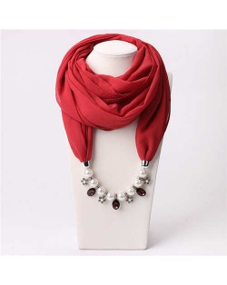 Pearl Chain Pendants Chiffon Women Scarf Necklace - Red