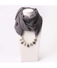 Pearl Chain Pendants Chiffon Women Scarf Necklace - Gray