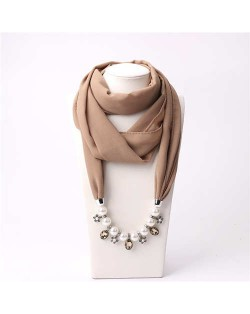 Pearl Chain Pendants Chiffon Women Scarf Necklace - Khaki