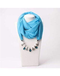 Pearl Chain Pendants Chiffon Women Scarf Necklace - Sky Blue