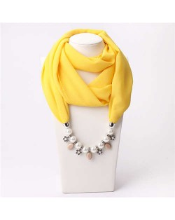Pearl Chain Pendants Chiffon Women Scarf Necklace - Yellow