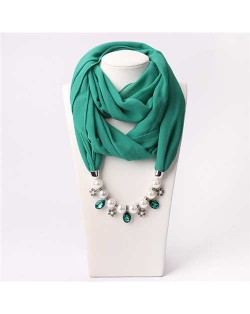 Pearl Chain Pendants Chiffon Women Scarf Necklace - Teal