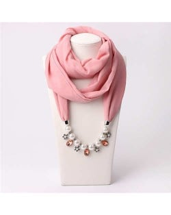 Pearl Chain Pendants Chiffon Women Scarf Necklace - Pink