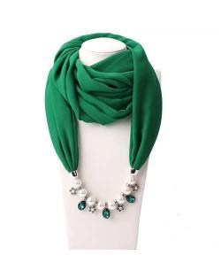 Pearl Chain Pendants Chiffon Women Scarf Necklace - Grass