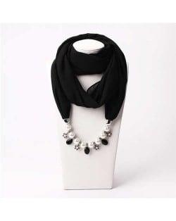 Pearl Chain Pendants Chiffon Women Scarf Necklace - Black