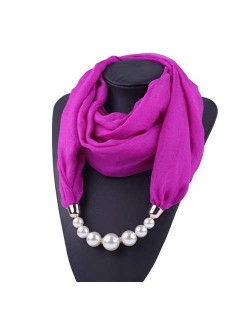 Pearl Embellished Solid Color Chiffon Women Scarf Necklace - Purple