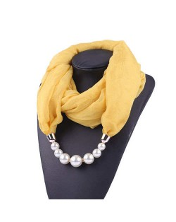 Pearl Embellished Solid Color Chiffon Women Scarf Necklace - Yellow