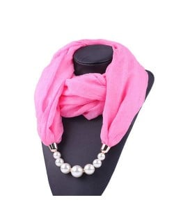 Pearl Embellished Solid Color Chiffon Women Scarf Necklace - Pink