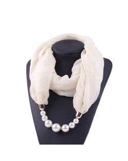 Pearl Embellished Solid Color Chiffon Women Scarf Necklace - White