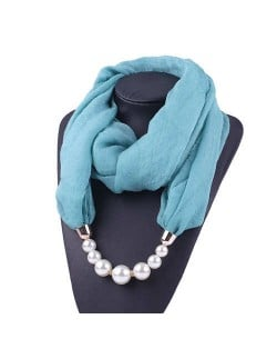 Pearl Embellished Solid Color Chiffon Women Scarf Necklace - Blue