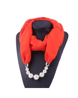 Pearl Embellished Solid Color Chiffon Women Scarf Necklace - Red