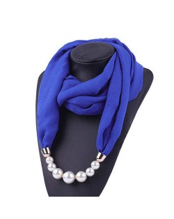 Pearl Embellished Solid Color Chiffon Women Scarf Necklace - Royal Blue